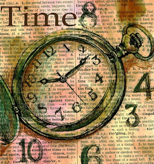 """Time"" Mixed Media Drawing on Distressed Dictionary Paper"
