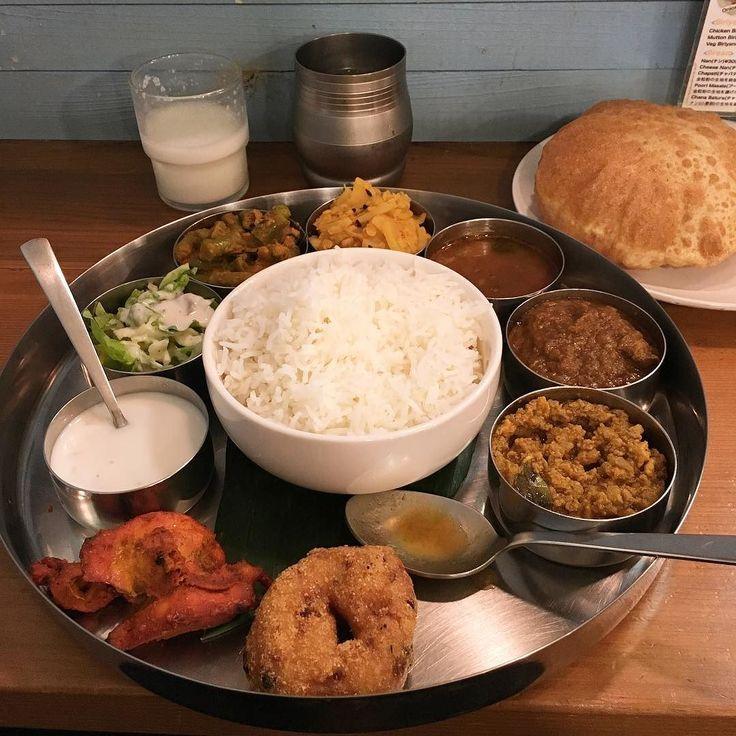 ノンベジターリ(マトンキーマプーリー) ディナーはいつもコレ美味しくてお腹いっぱいになるよ(o) #ヴェヌスサウスインディアンダイニング #venussouthindiandining #ヴェヌス #venus #カレー #curry #南インド料理 #錦糸町