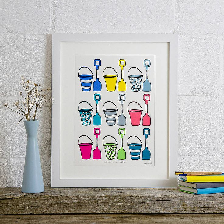 cornish buckets and spades screen print by kiwi printmaking studio | notonthehighstreet.com