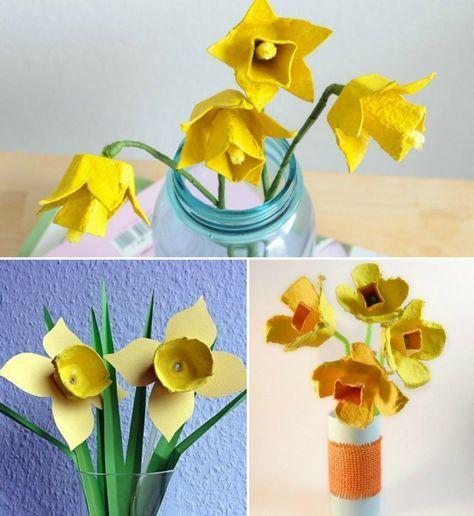 Blumen aus Eierkartons selber machen