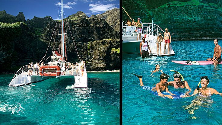 Kauai: 5 to 5½ hours of Na Pali, sailing, snorkeling and fun! You'll see spectacular sea cliffs, enchanting waterfalls and timeless lava tubes. Enjoy the history and legends of the ancient civilizations that once inhabited these verdant valleys. Plus, we'll anchor at a tropical reef to snorkel and explore an underwater ecosystem.
