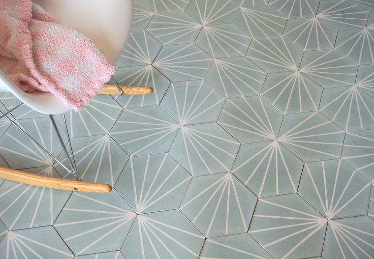 our hexa jasmin cement tiles in turquise