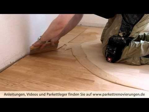 Schleifstaub mischen und verteilen und Parkett-Fugen verschließen - YouTube