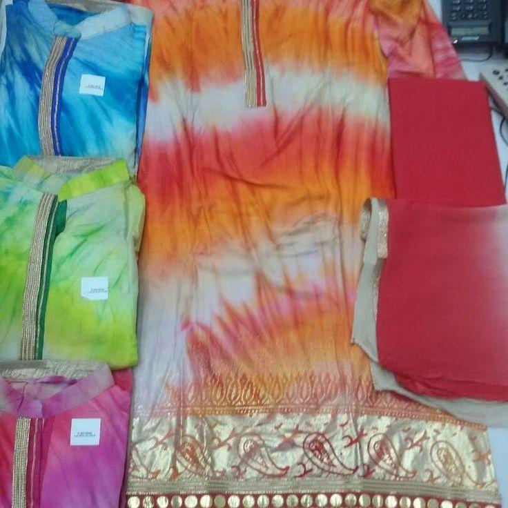 Top rayon hand dye with foil print Bottom cotton Du.shifffon Call 9768897928