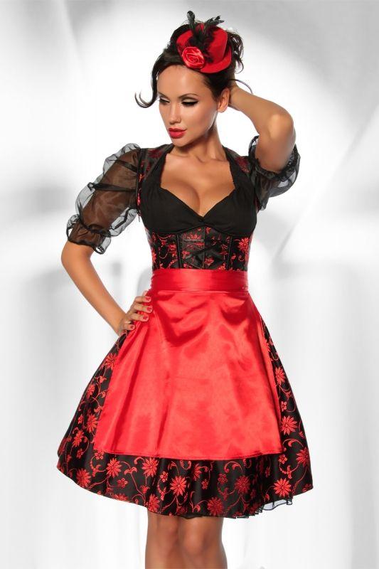 Satin #Dirndl-Kostüm schwarz/rot