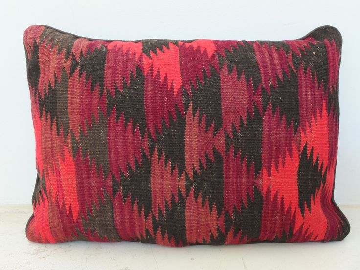 Statement Bohomian Kilim Pillow Cover - Ethnic Orange, Red, Brown Accent - 27' x 20' Inch (70x50 cm). See on Etsy: https://www.etsy.com/listing/197702224/vintage-kilim-handwoven-pillow-cover?ref=shop_home_active_2