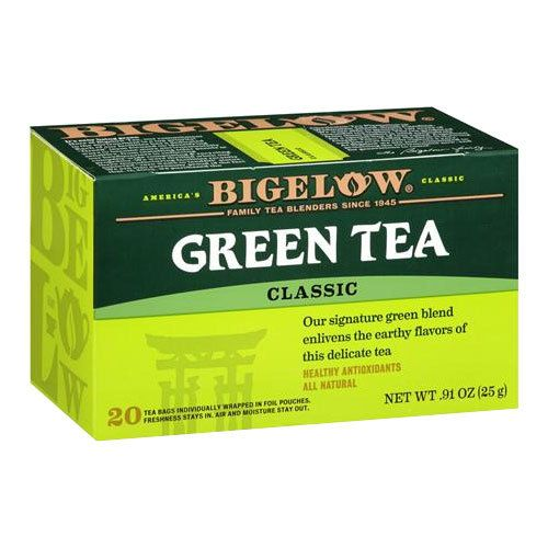 Bigelow Tea, Classic Green Tea 28 / Box. The brand I drink daily, along with same brand Mint Medley Tea. I purchase mine at the local Wal-Mart or grocery store.