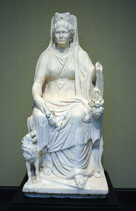 Cybele enthroned, with lion, cornucopia and Mural crown. Roman marble.
