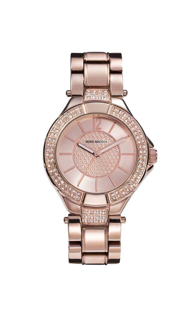 Cada día debes brillar y con nuestro modelo deslumbraras!   Reloj tres agujas brazalete con acabado IP Rosa e incrustaciones en esfera y bisel. Cierre desplegable. Cristal mineral e impermeable 30m (3ATM).