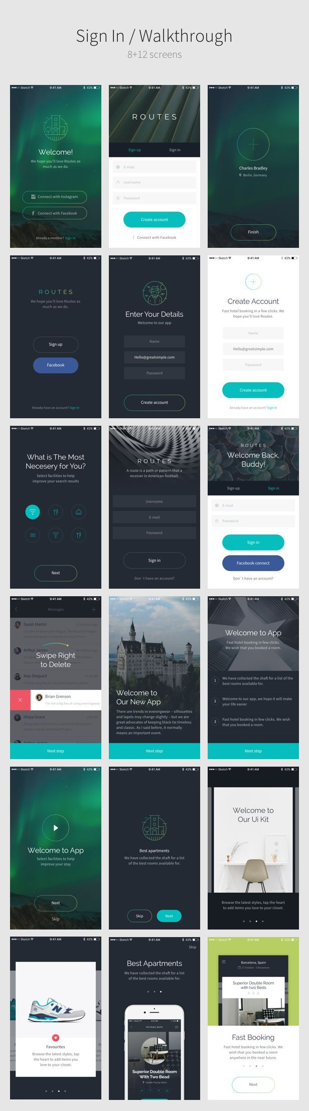 Routes UI Kit - 100+ iOS login, how it work screen. If you like UX, design, or design thinking, check out theuxblog.com