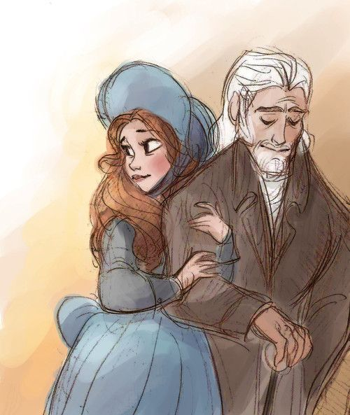 Cosette and Jean Valjean...awwwwwww! Didn't cosette have blonde hair???