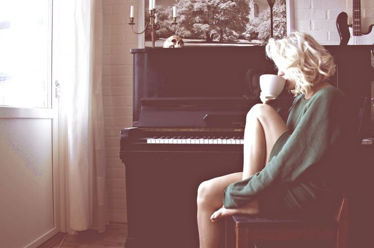 piano and coffee in the morning