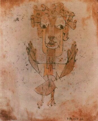 """A Klee drawing named """"Angelus Novus"""" shows an angel looking as though he is about to move away from something he is fixedly contemplating...  This is how one pictures the angel of history.  His face is turned toward the past.  Where we perceive a chain of events, he sees one single catastrophe that keeps piling ruin upon ruin...  The angel would like to stay...and make whole what has been smashed.  But a storm...irresistibly propels him into the future...what we call progress. -Walter…"""