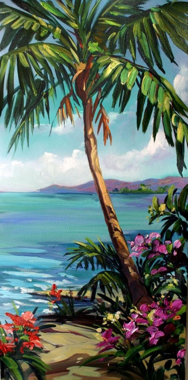 60 New Acrylic Painting Ideas To Try In 2018 Bored Art Palm Trees Painting Art Painting Canvas Painting
