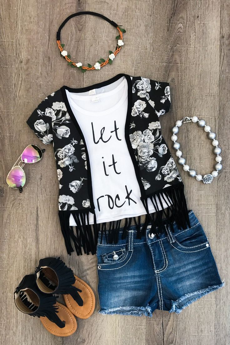 """Let it Rock"" Black Floral Kimono Set -"