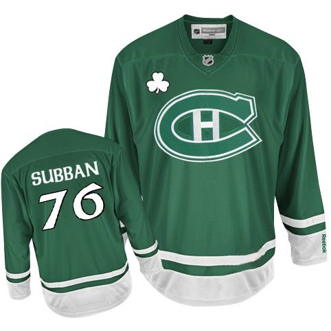 P.K Subban Jersey-Buy 100% official Reebok P.K Subban Men's Premier St Patty's Day Green Jersey NHL Montreal Canadiens #76 Free Shipping.