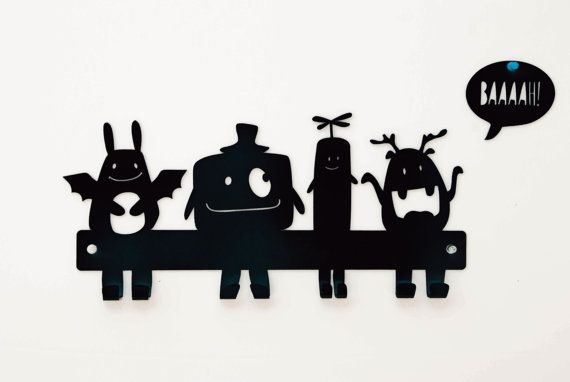 Monsters Coat Rack, Kids Wall Hanger, Nursery Wall Hooks, Metal Coat Hanger, Monster Nursery