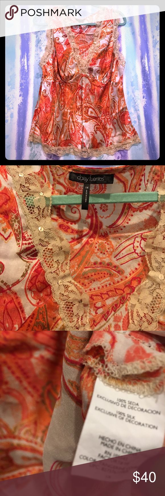 """Daisy Fuentes Plus size 1x  100% Silk Dress Tank Daisy Fuentes Plus size 1x  100% Silk Dress Tank orange cream multi colored 25"""" length Daisy Fuentes Tops Tank Tops"""
