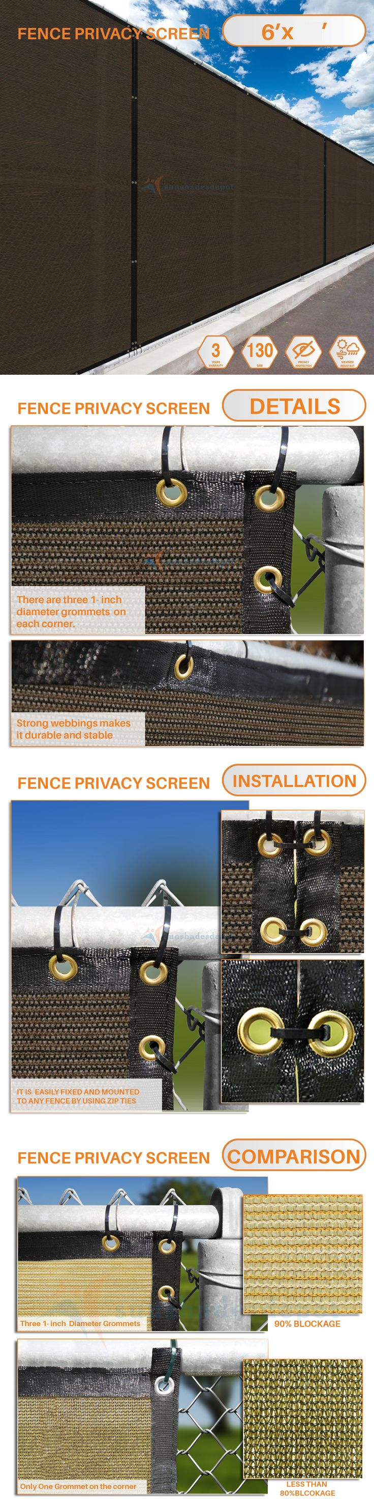 Privacy screen for chain link fence ebay - Privacy Screens Windscreens 180991 Customize 6 Ft Privacy Screen Fence Brown Commercial Windscreen Shade Cover