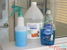 GGODBYE SOAP SCUM!!! Heat up a cup of white vinegar in microwave for about 2 min. Mix in a squirt bottle with 1 cup of ORIGINAL BLUE Dawn dish soap. Spray, let sit for 1/2 hour and wipe with a sponge, Buh-bye