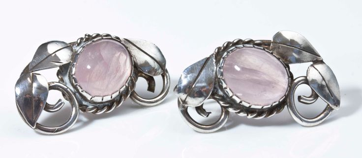 Gladys and Charles Mumford. Sterling silver and rose quartz earrings.