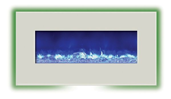 Amantii WM-BI-34-4423-WHTGLS wall-mount electric fireplace with white glass; $1259 cdn.