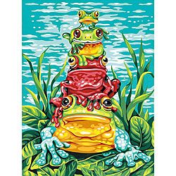 Dimensions 'Frog Pile-up' Paint By Number Kit (9 x 12) | Overstock.com Shopping - The Best Prices on Dimensions Paint by Number