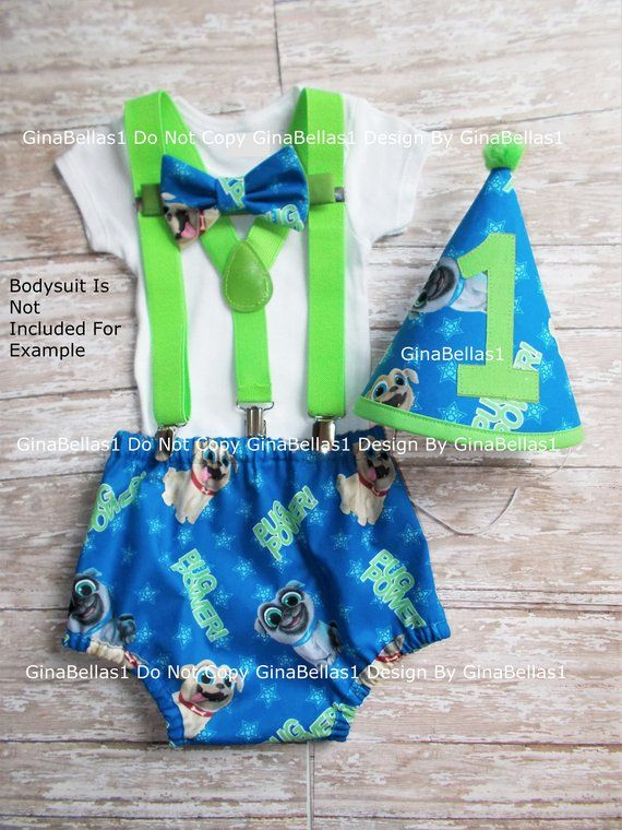 Puppy Dog Pals Birthday Outfit Cake Smash Hat 1st Party Diaper Cover Bow Tie Optional Green Suspenders Baby Shower Gift 9 12 18 24 Toddler In 2019