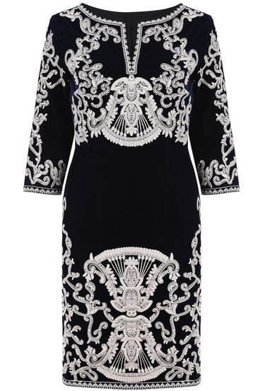Navy V Neck Long Sleeve Embroidered Dress pictures