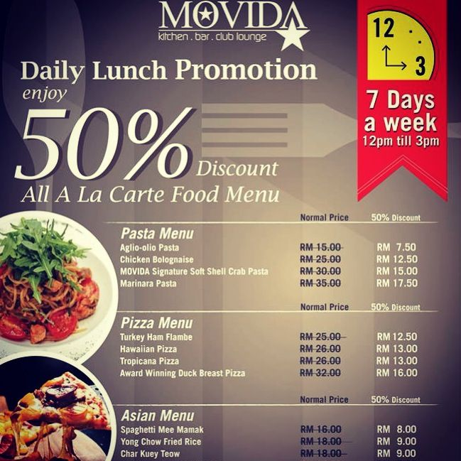 Enjoy 50% Discount Off all A la Carte Food Menu at MOVIDA! Available Everyday from 12noon till 3pm daily!