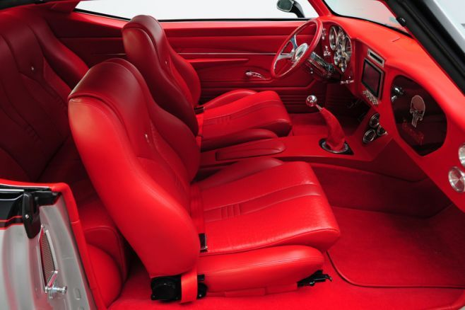 becausess 1969 chevrolet camaro ls2 550 hp punisher all red interior custom console silver red. Black Bedroom Furniture Sets. Home Design Ideas