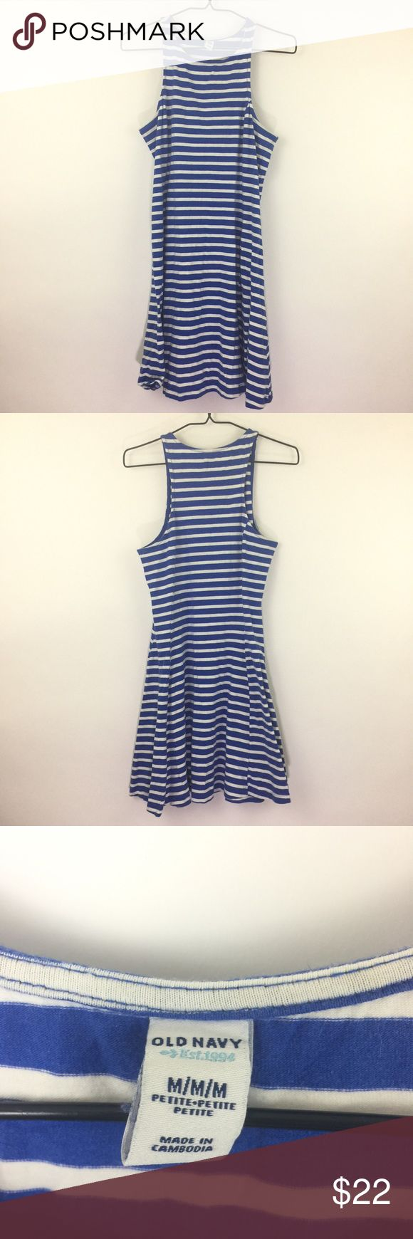 "Old Navy Blue & white striped dress Sz M Pet 550 Old Navy Blue & White Striped Knit Sleeveless A-Line Dress Sz Medium Petite   Measurements: Bust:  17"" Flat Across has some stretch as it is a jersey knit Waist:  15.5"" Flat Across Length:  34""  Long  In good preowned condition with no known flaws and light overall wear. Old Navy Dresses"