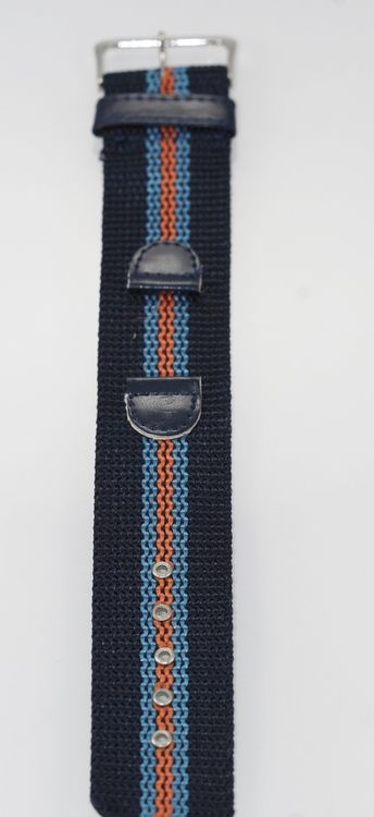 Mens One Piece Navy Blue Nylon/Leather Replacement Watch Band 18mm