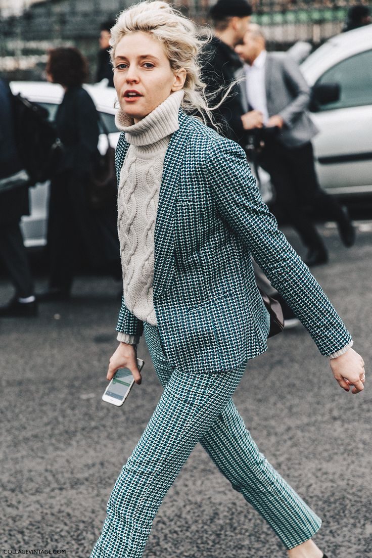 cable knit turtleneck, green checkered blazer and trousers | Desert Lily Vintage |