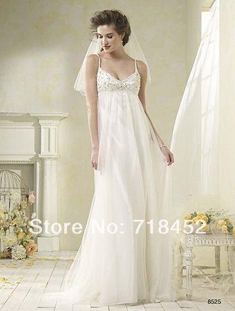 >> Click to Buy << 2014 Vintage Empire Waist  Wedding Dresses Beaded Spaghetti Straps Vestidos De Novia Bridal Gowns Organza Free Shipping NW1687 #Affiliate