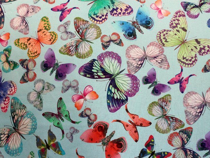 Decoratiestoffen - bedrukte polyester katoen - digitale print vlinder 1 - Stoffentotaal.nl