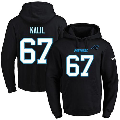 nike panthers 67 ryan kalil black name number pullover nfl hoodie