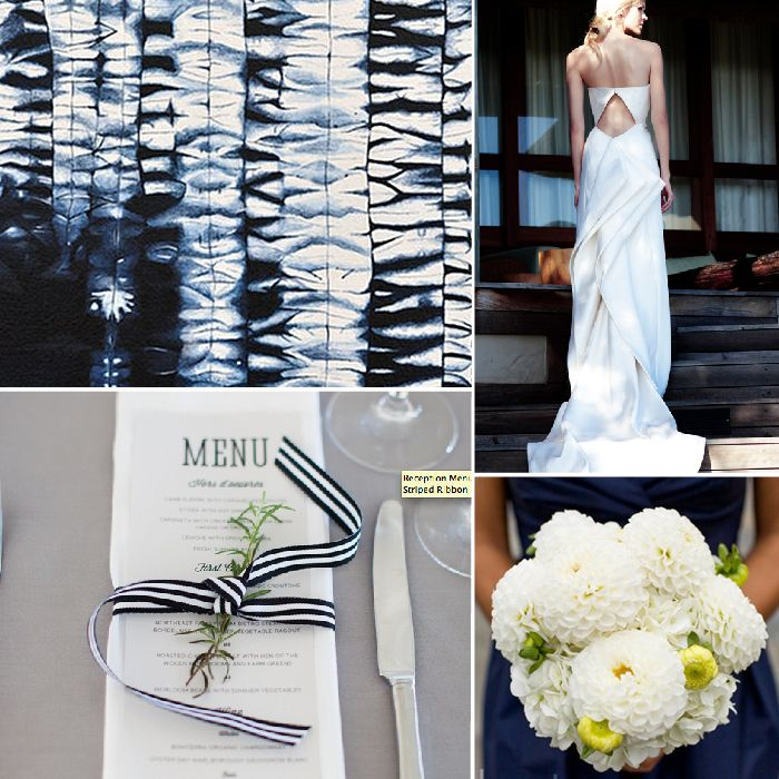 Deep Blue + White Modern Wedding Color Palette Inspiration