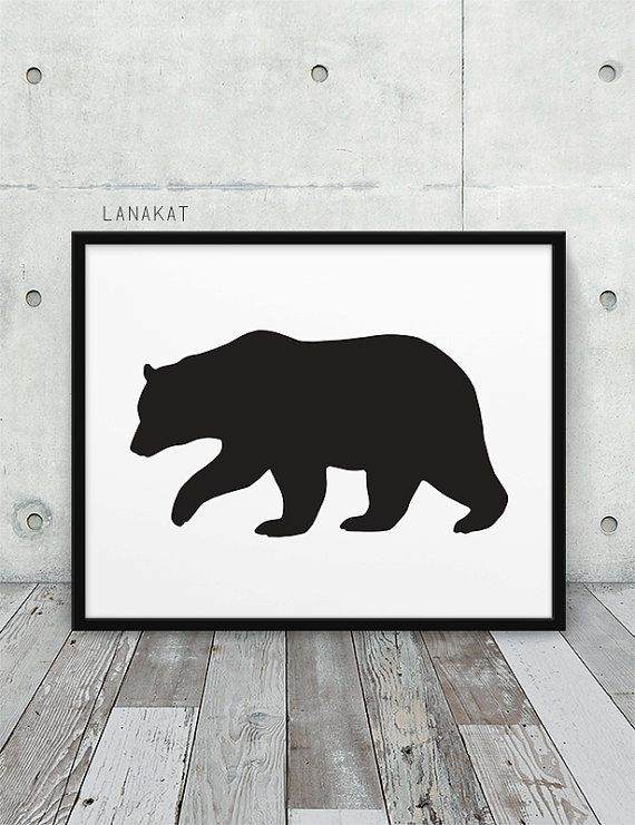 Bear Printable. Black & White Bear Silhouette Woodland Animal Print. Rustic Wall Art Nursery Home Office Decor. Instant Download DIY Print