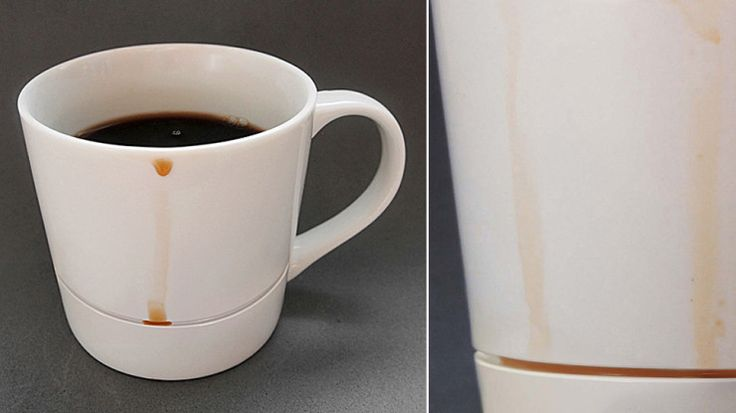A mug with a groove around the bottom to catch drips