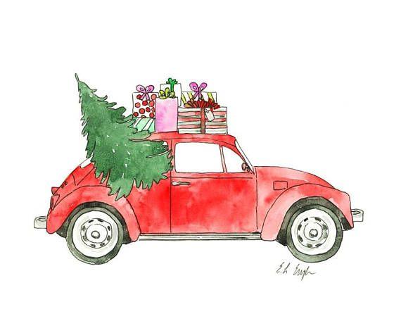 Vintage Red Christmas Car Vw Bugoriginal Watercolor Christmas Paintings Christmas Lights Drawing Christmas Tree Painting