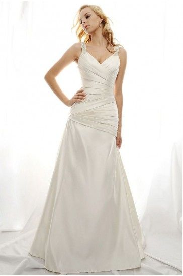 Casual Beach Wedding Dresses with Straps,A-line,Satin Fabric,Court Train,B2015013110