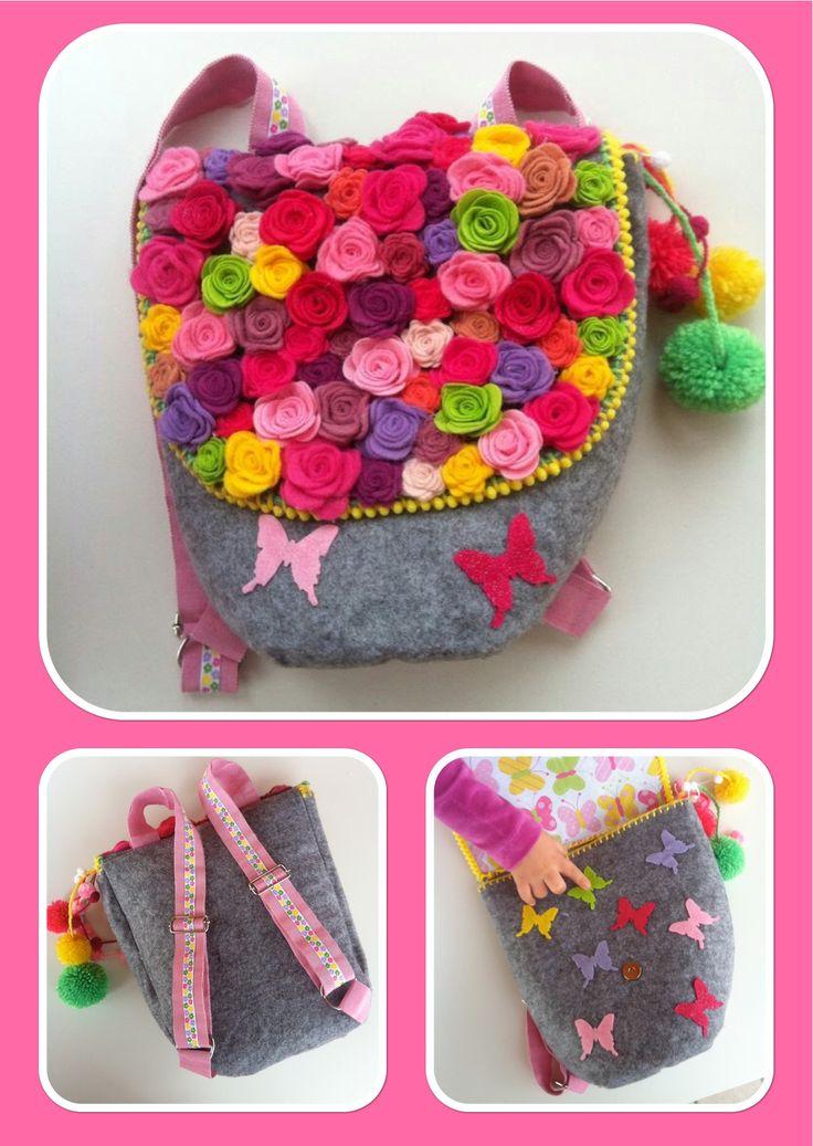 Childs felt Backpack flowers hand made DIY