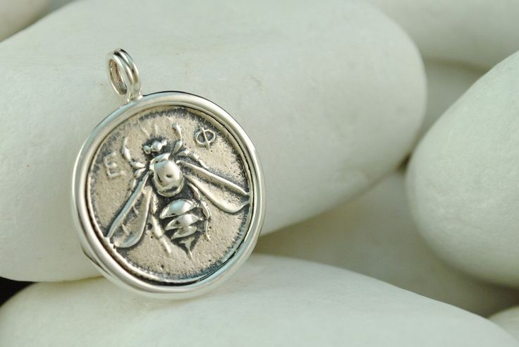 Ancient Greek Coin Pendant, Ephesus, Goddess Artemis, Bee, Stag and Palm Tree - Solid Sterling Silver by EleganceEternelle on Etsy https://www.etsy.com/listing/228274608/ancient-greek-coin-pendant-ephesus