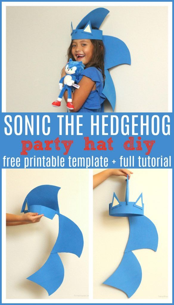 Sonic The Hedgehog Party Hat Diy In 2020 Diy Party Hats Sonic Birthday Sonic Birthday Parties