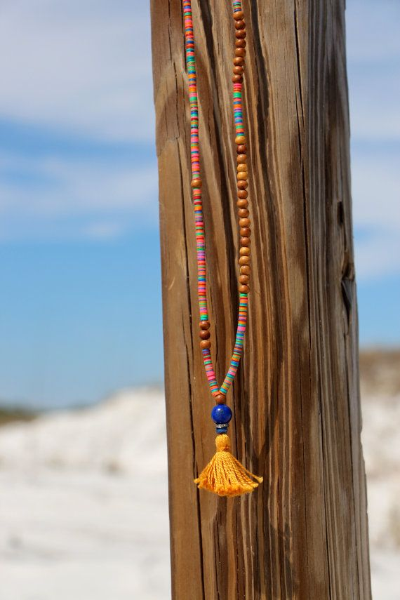 Wood Bead Tassel Necklace Colorful African от HappyGoLuckyJewels