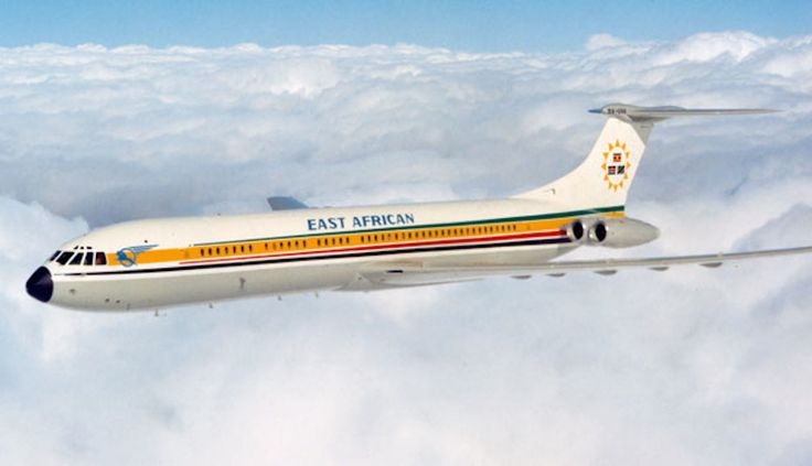 East African Airways Super VC10 (Series 1150), cruising serenely above the clouds.