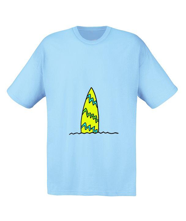Camiseta 'Tabla de Surf' Disponible en Blanco, Celeste o Lima Tallas S a XXL. www.demascolores.com