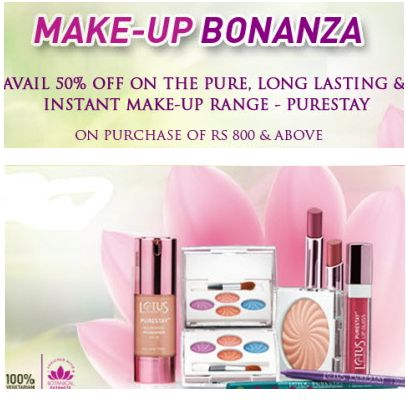 Get 50% Off on Lotus Herbal Purestay Cosmetics..!!  Cosmetics giving you a gentle luminosity and the appearance of a naturally flawless look all day long