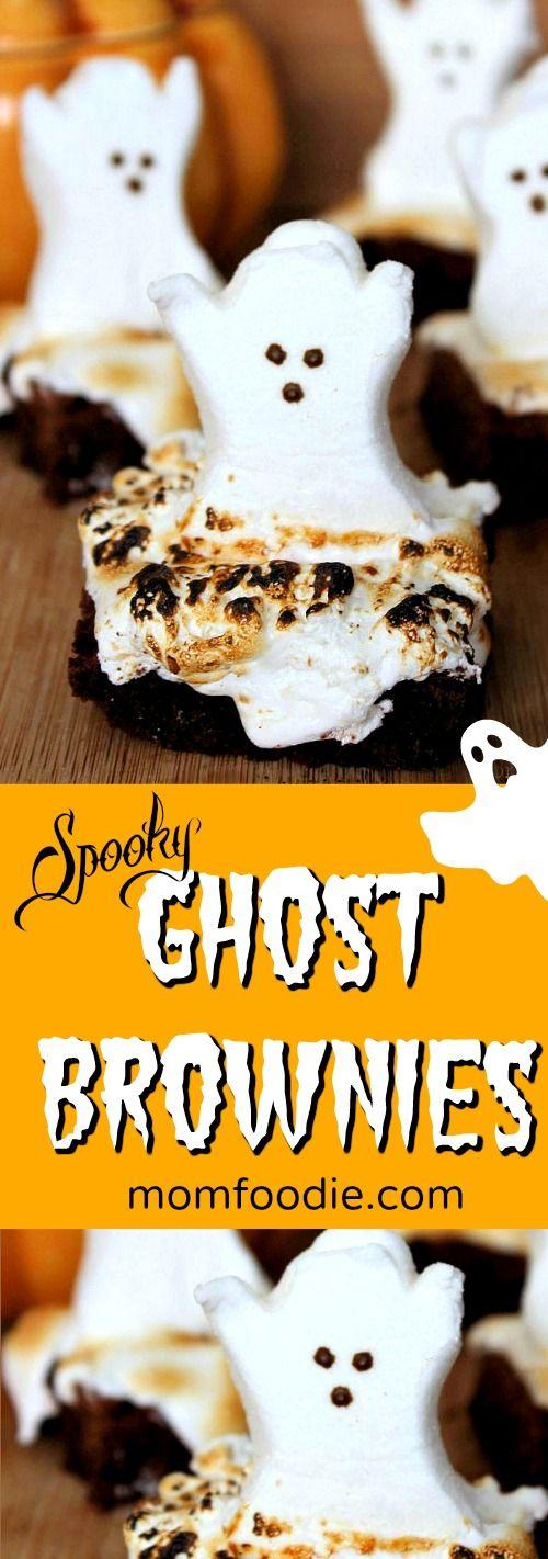 Ghost Brownies Halloween Treats - Kids will love these spooky ghost brownies!  #HalloweenParty #halloweenfood